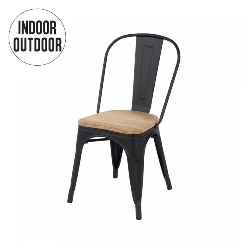 Chaise industrielle de salle à manger assise bois inspirée Tolix