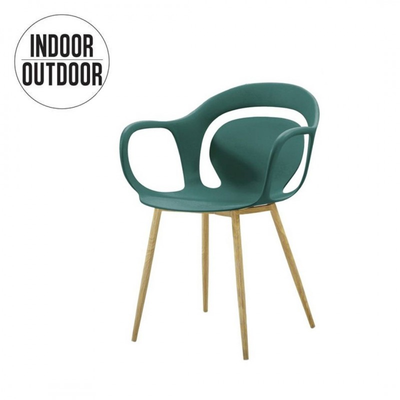 Polypropylene dining chair with armrest
