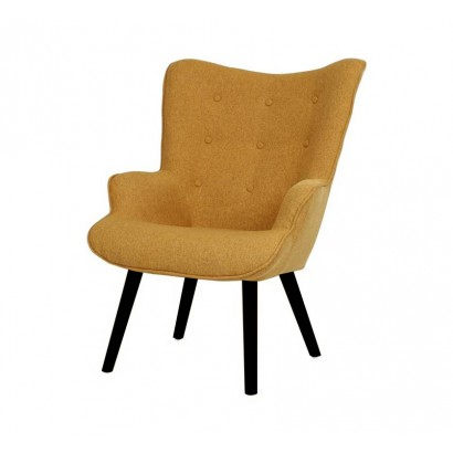 Fabric Armchair with Wooden...
