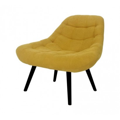 Suede Armchair with Wooden...