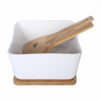 Salad dish with wooden tray