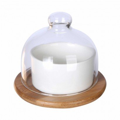 Mini glass bell with bamboo...
