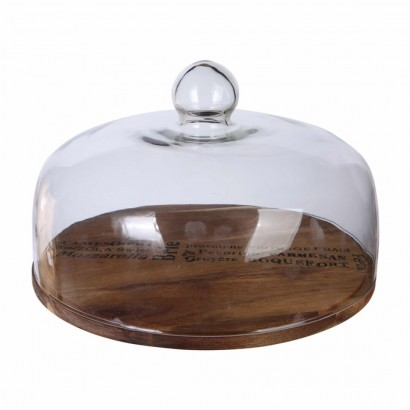 Glass bell with wooden top