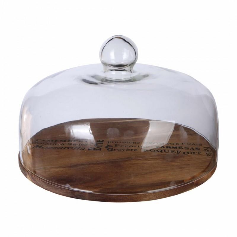 Cloche en verre avec plateau en bois