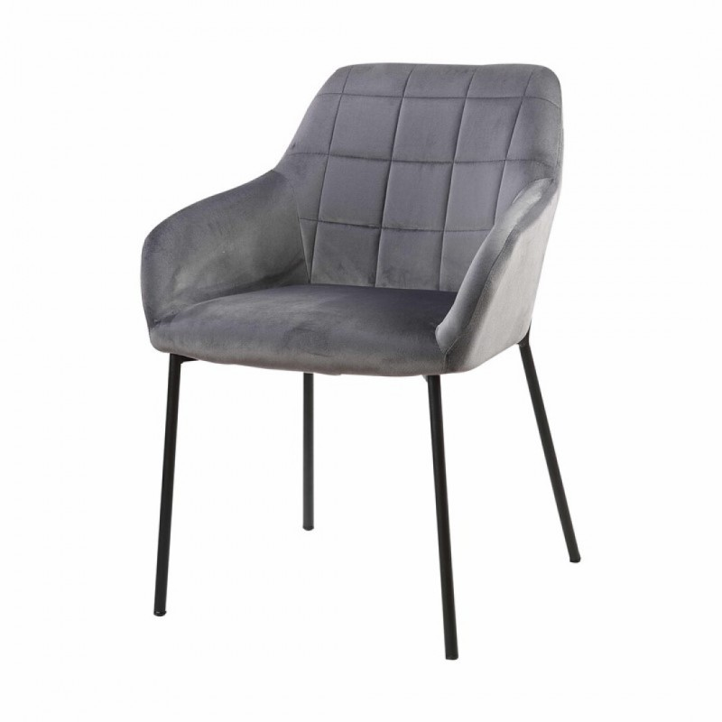 Chair with upholstered armrest with solid birch wood