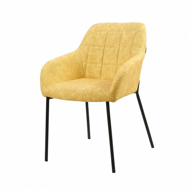 Chair with armrest upholstered with solid birch wood