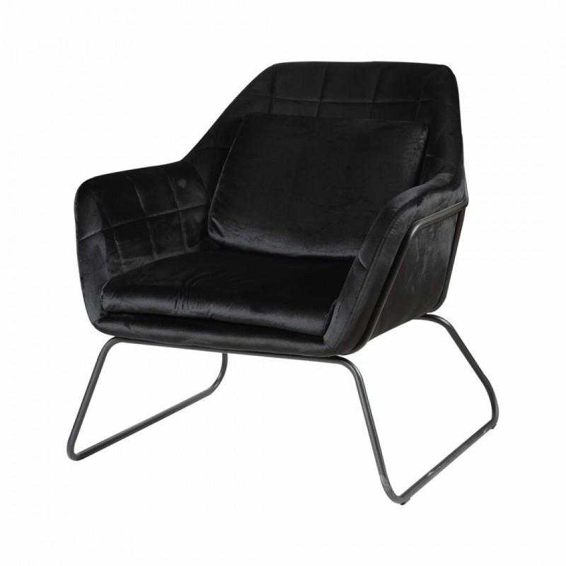 Black velvet and metal armchair + cushion -Jasper