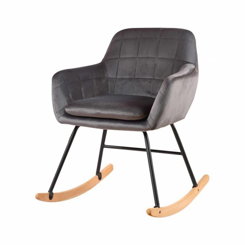 Velvet upholstered rocking chair