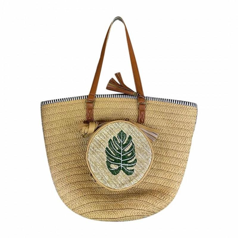 sac de plage en jute avec motif feuille weekend avec anse en cuir