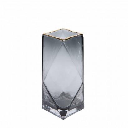 Vase en verre transparent gris