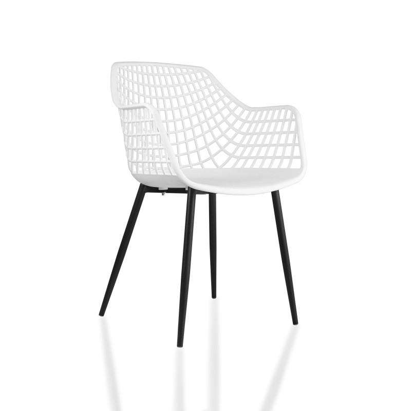 Chaise à accoudoirs design assise croisillon tango Lucia
