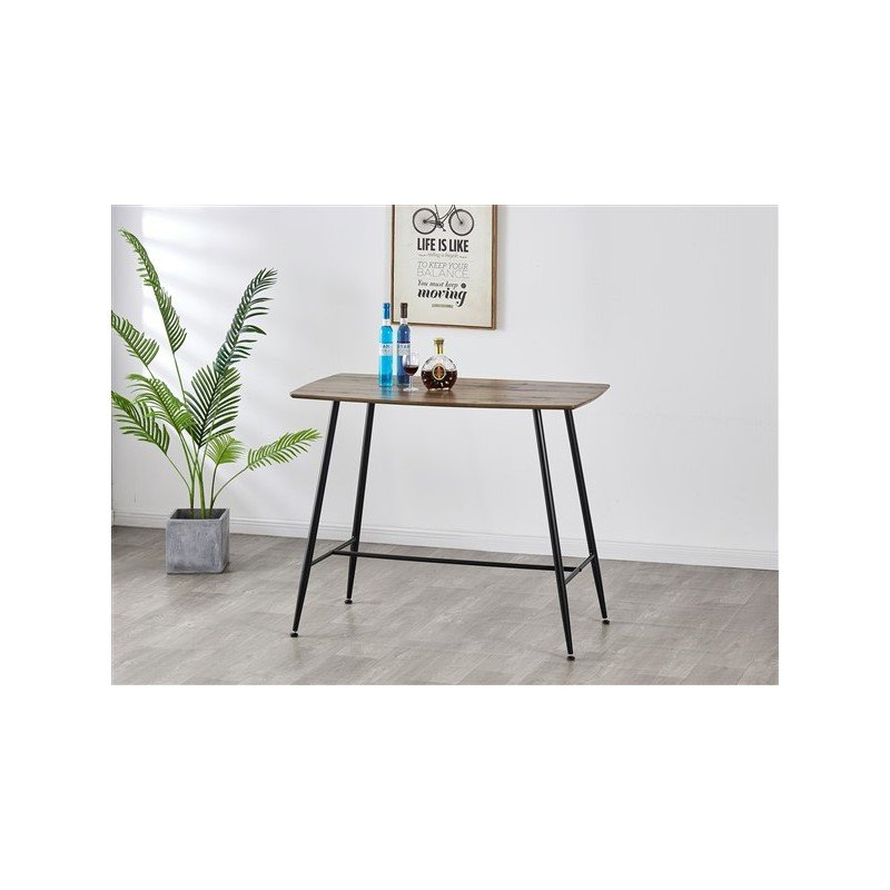Rectangular wooden high table for 4 people Eating standing upright