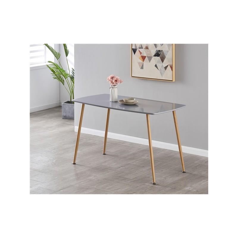 Table à manger  4 personnes rectangulaire  laquée  grise 120cm