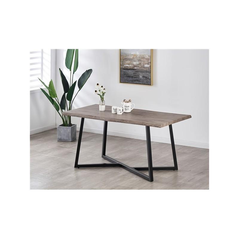 Table à manger 6 personnes  160cm Plateau effet bois patiné gris