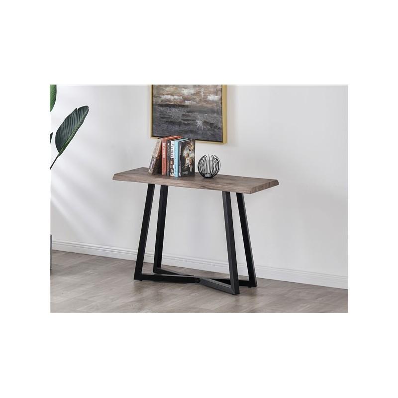 Console avec pieds métal et plateau en bois gris