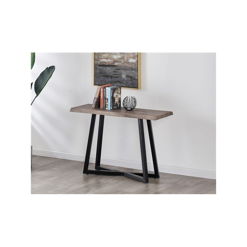 Console with metal legs and grey wood top