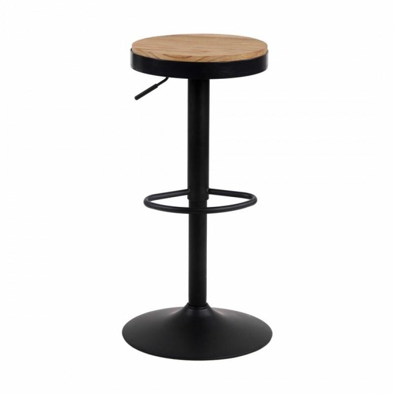 Tabouret de bar industriel à hauteur réglable avec assise bois manguier inspiré tolix
