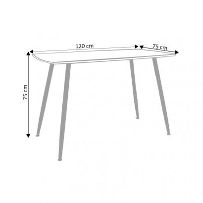 ROMA Table rectangulaire BLANC