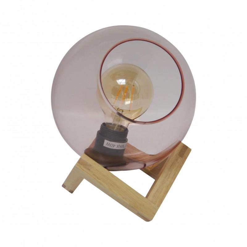 Vrije balvormige tafellamp + LED gloeilamp aangeboden