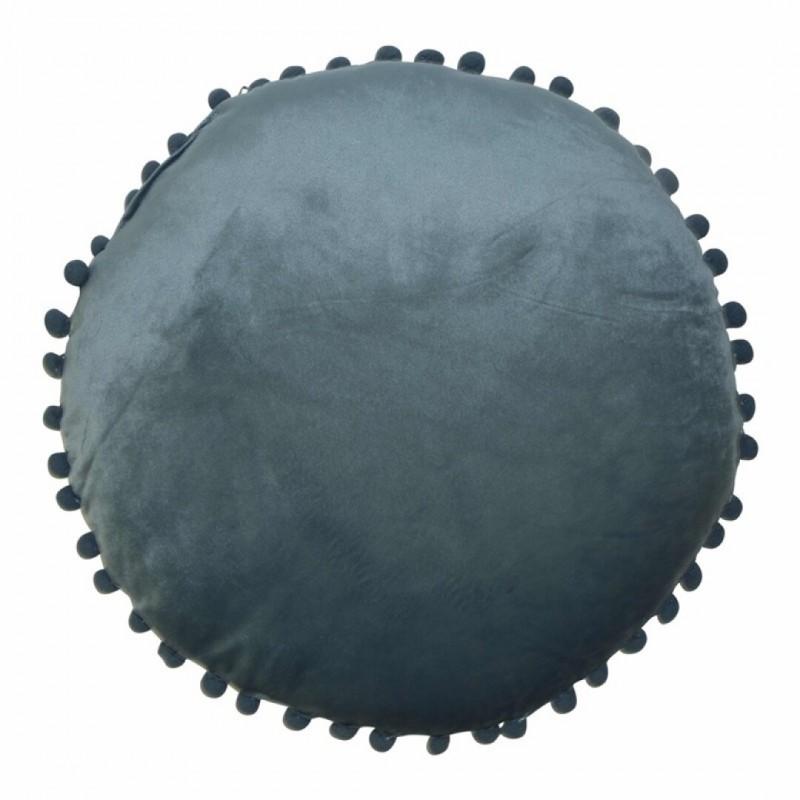 Coussin velours pompoms D40 cm