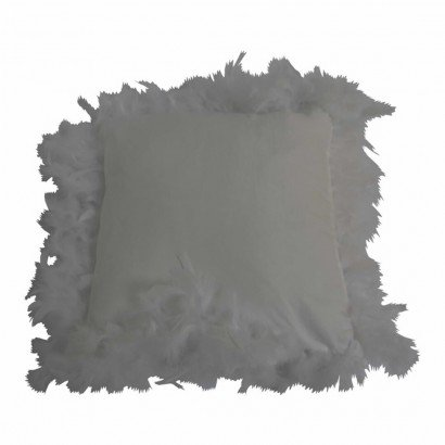 Suede cushion with feather...