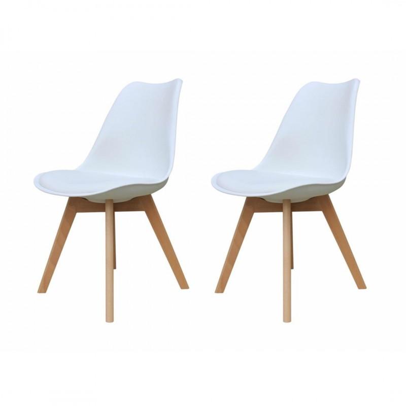 Lot de 2  chaises scandinave avec pieds en bois massif