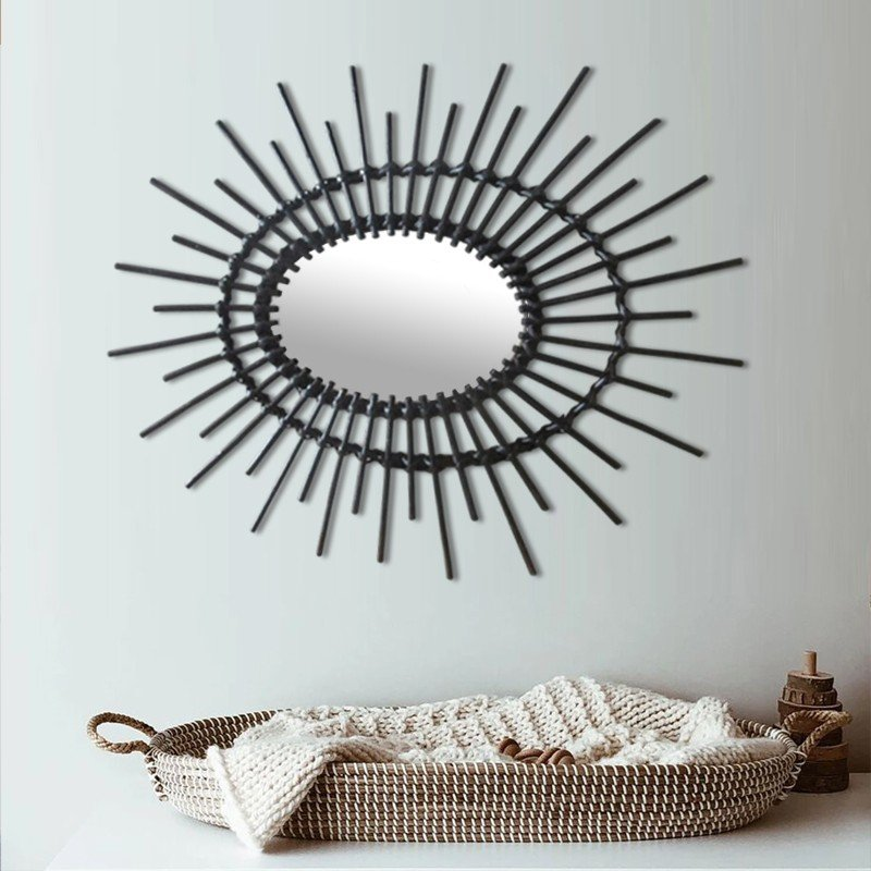 OVAL Mirror Natural Rattan in Black
