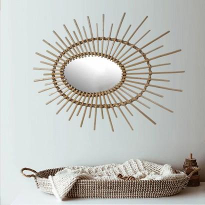 Oval Mirror Natural Rotan