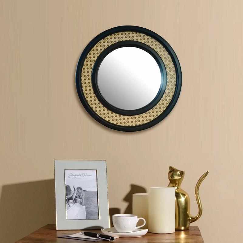 Rotan Spiegel Rond Zwart