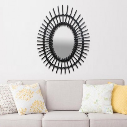Oval Mirror Black Rattan