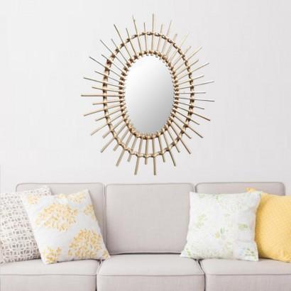 Oval Mirror Natural Rattan