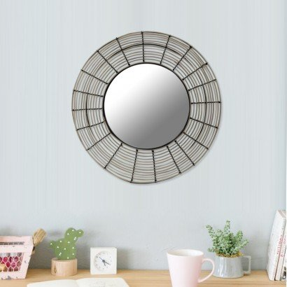 Round mirror in natural rattan