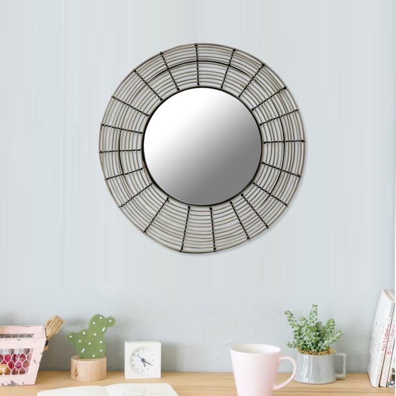 Miroir rond en rotin naturel