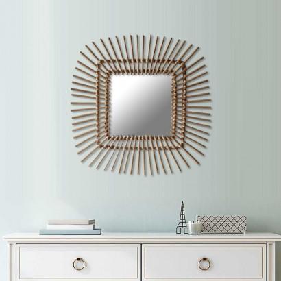 Miroir en rotin naturel carré