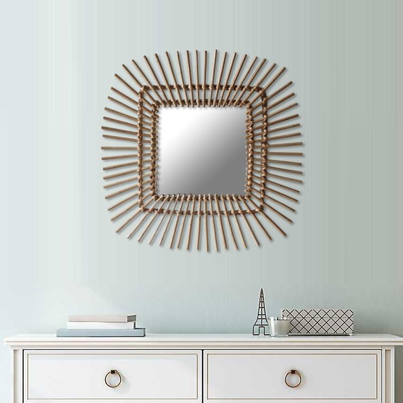 Rattan Mirror Square