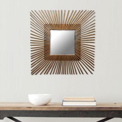 Miroir carré en rotin naturel