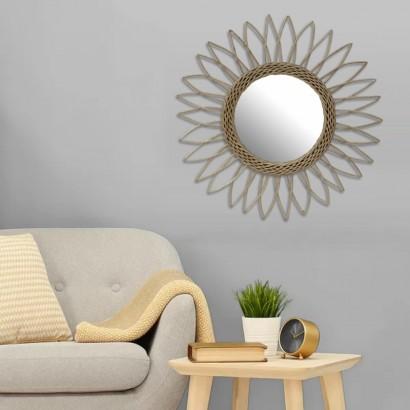 Miroir rond soleil en rotin...