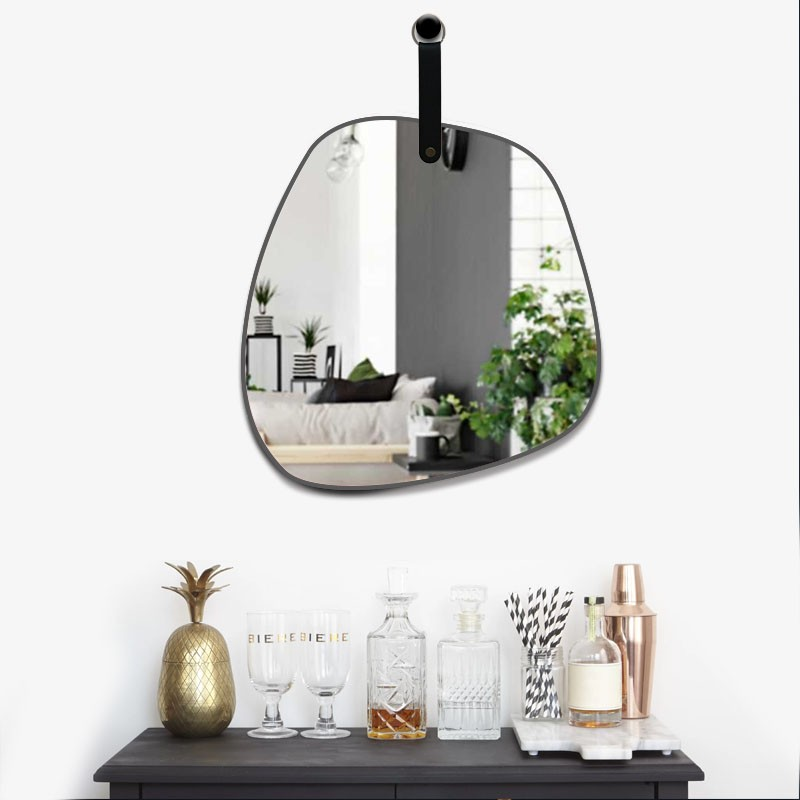 Miroir SALVADOR a Suspendre avec anse en PU noir 31,5x29,5 cm