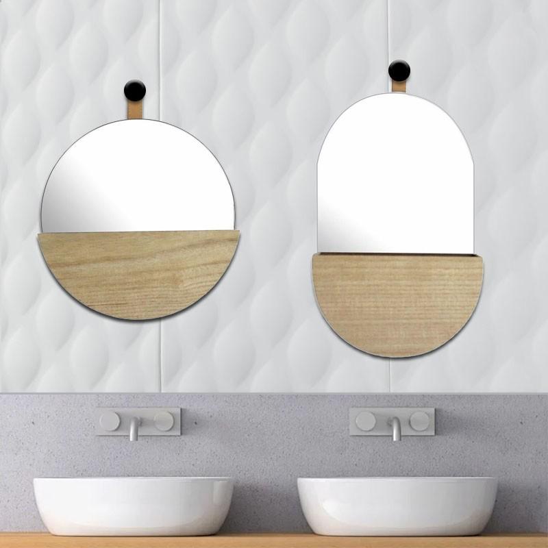 Round Mirror with Wood Storage