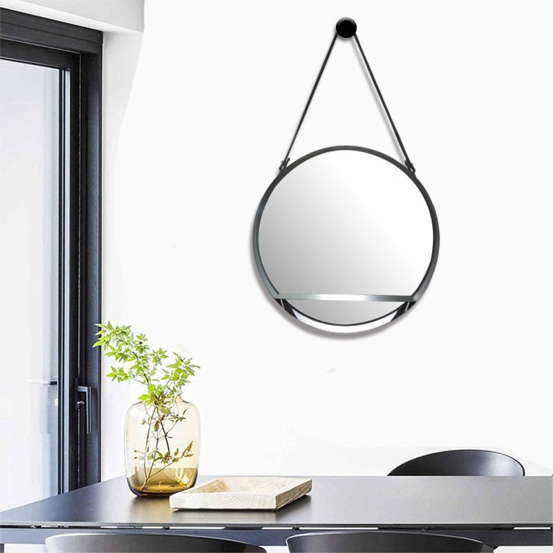 Mirror with shelf and handle in imitation leather