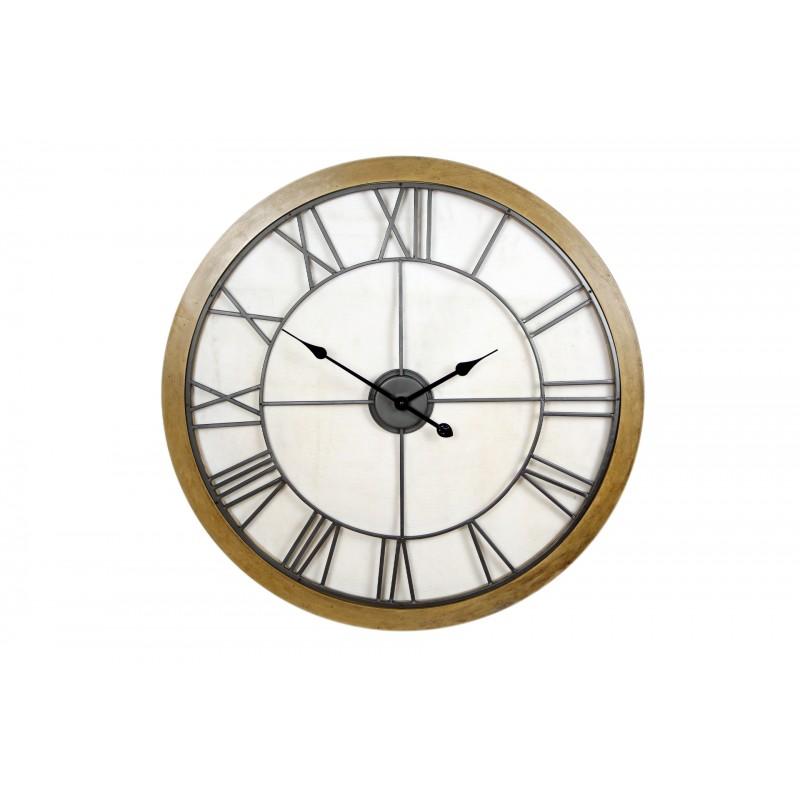 Horloge industrielle ronde Bois /métal murale D76,5 cm