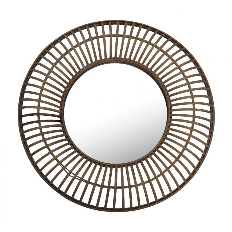 Miroir filaire rond en bambou 72x72 cm