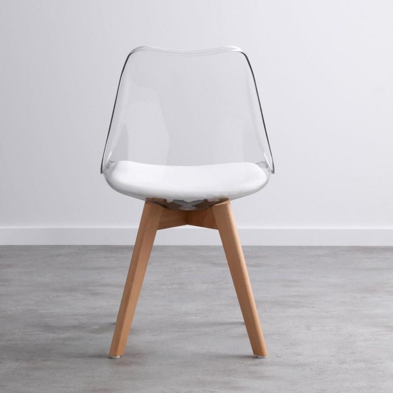 Chaise type scandinave transparente avec pieds bois Hetre