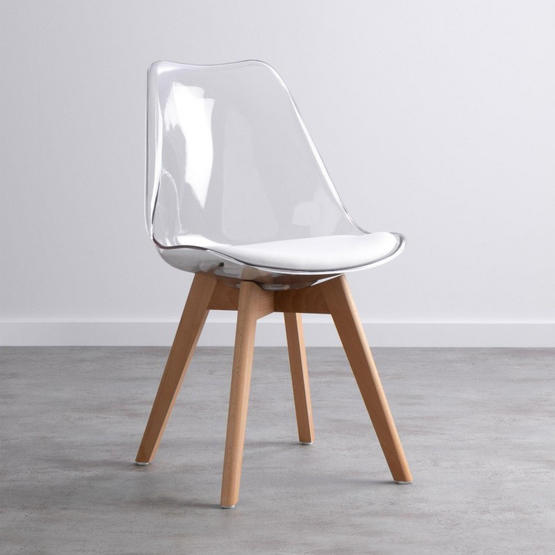 Transparent scandinavian style chair with Hetre wood legs