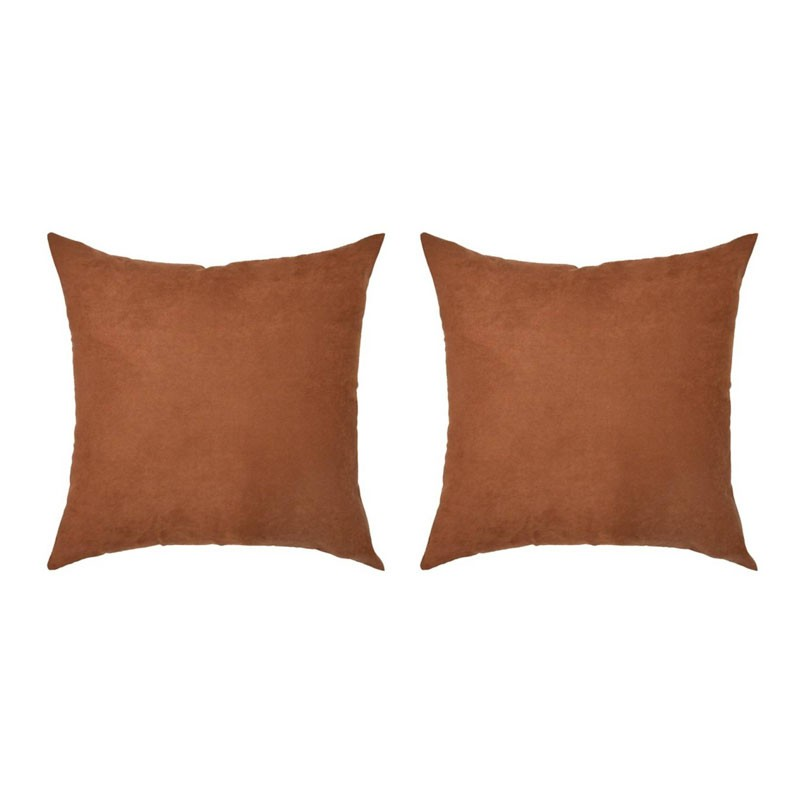 Set of 2 VOLTERRA cushions with removable rust suede 40x40