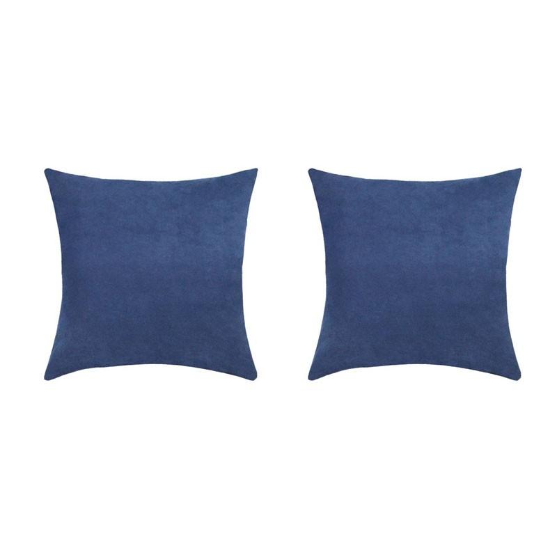 Lot de 2 coussins VOLTERRA déhoussables en suédine bleu 40x40