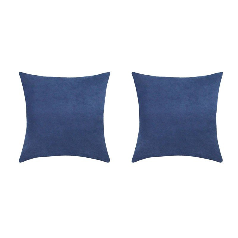 Set of 2 VOLTERRA removable blue suedecloth cushions 40x40