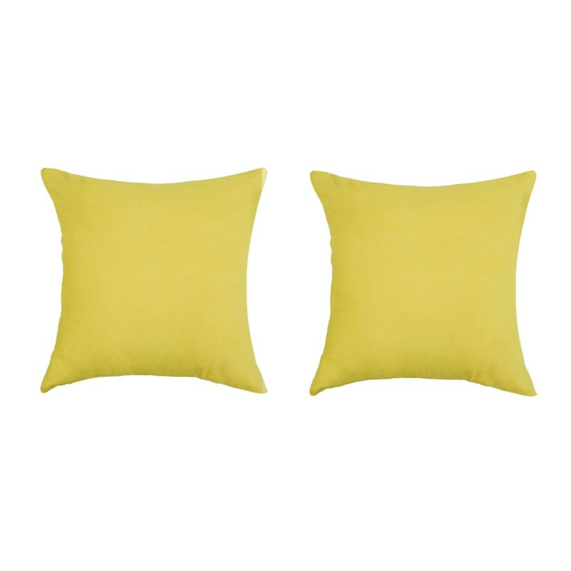 Set of 2 VOLTERRA removable cushions in yellow suede 40x40