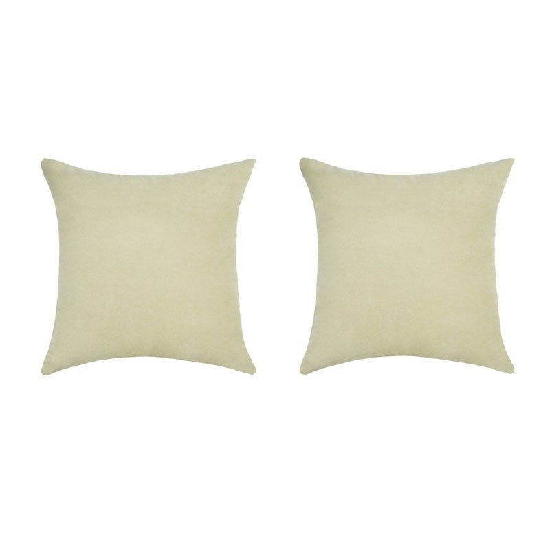 Set of 2 removable VOLTERRA cushions in ivory suedecloth 40x40
