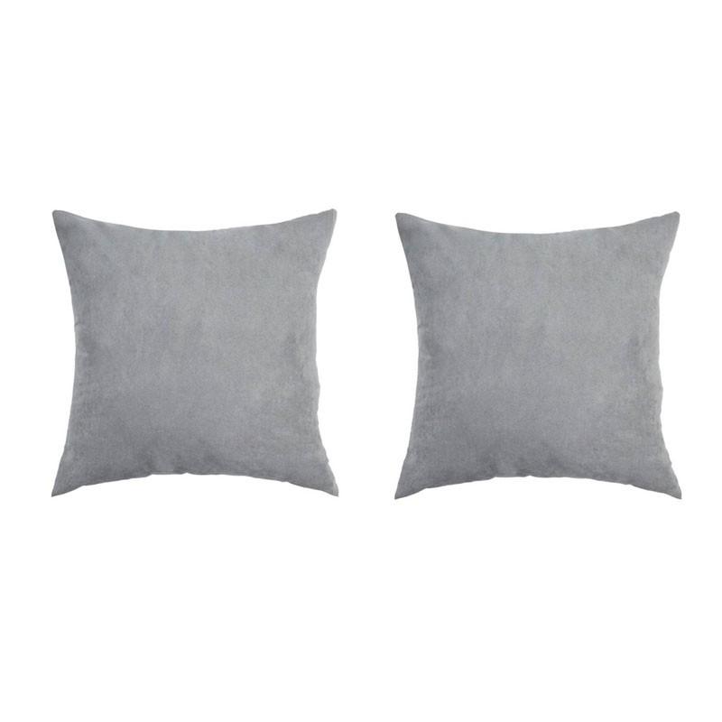 Lot de 2 coussins VOLTERRA déhoussables en suédine gris 40x40